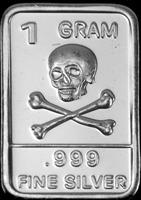 THE second  amendment  skull 1 gram silver .999 bar  50pcs/lot