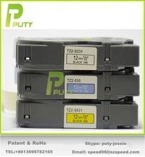 Eco-friendly Puty black on white PT-S231/Z-231 label tape