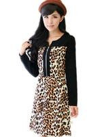 Free Shipping Plus size women's clothing 8107 ladies autumn/winter new sweet Leopard print Long sleeve dresses L XL XXL XXXL