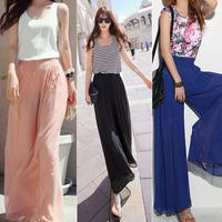Women Long Chiffon Skirt New 2014 Pink Loose Casual Maxi Skirts Female Vintage saia longa femininas Black Blue