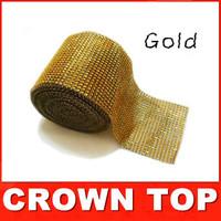 "Wedding decoration Gold 4.75""x 5 Yards  DIAMOND MESH WRAP ROLL SPARKLE RHINESTONE Crystal Ribbon free shipping"