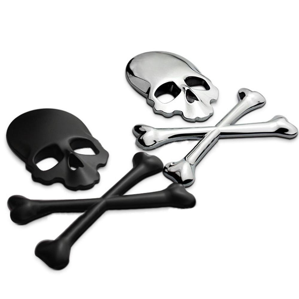 prata 3d crânio metal esqueleto ossos cruzados adesivo etiqueta crânio em