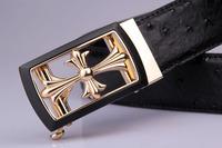 belts for men women belts top quality 100% full grain genuine leather belt Ostrich body Chrome buckle cinto feminino mens strap