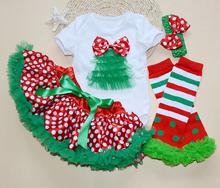 Baby Clothing Shortsleeve Ruffle Bodysuit Skirts Girls Stripe Leg Warmers + Headband + Skirt+Short Hello Kitty Christmas Tree(China (Mainland))
