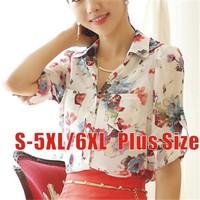 Cool Fashion Style Blouse Shirt Chiffon+Lace Sleeve Flower Print Plus Size S-XXXXXL/6XL Roupas Casual Blusas Blouses Women Tops