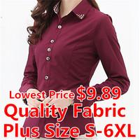 Brand Women Blouse Shirt Solid Color S-XXXXL/5XL/ 6XL Plus Size Blusas Femininas Clothing Casual Blouse Women Tops Plaid Shirt