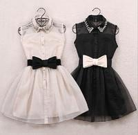 Gauze Silk Lady Summer Cute Office Dress New 2014 Women Party Evening Elegant Dresses White Black Vestidos Femininos de festa
