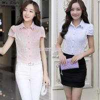 Womens Tops Fashion 2014 Sweet Elegant Office Ladies Plus Size Clothing White Shirt Short Sleeve Chiffon Lace Women Blouse 2144