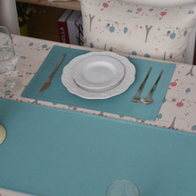 4Pcs/lot Two-layer Rectangle Placemat Pastoral Style Light Blue 100% Cotton Dining Table Decoration Plate Heat Insulation Pad(China (Mainland))