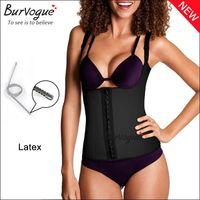 Hot sale sexy black corset underbust waist training straps push up slim body shaper for women latex cincher corset and bustier