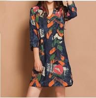 autumn 2014 plus size clothing plus size plus size denim one-piece dress winter dress