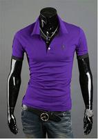 2014 New Mens T Shirt Men's Short Turn-down Collar Sleeve Slim Fit Casual Shirt Men Shirts 1pcs/lot Free Shipping