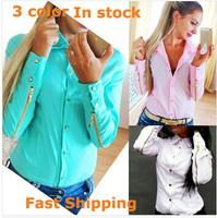 Office Lady Blouses 2014 Women Blouse Casual Shirt Chiffon Women Work Wear Long Sleeve Turn-down Collar Slim Blouse LJ069DB