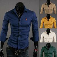 2014  Hot sale  plus size korean style deer  logo  mens solid color slim fit casual shirts    M- 4XL