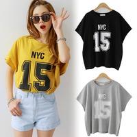 2015 summer women's short sleeve loose tee cotton number 15 letters printed short bat plus size women Top