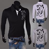 2014 Hot korean style men's  casual tees  men slim fit  flower print long sleeve T-shirts    M-  XL