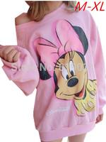 2014 Mickey lovely soft pink strapless shirt collar sweater woman women Hitz M-XL