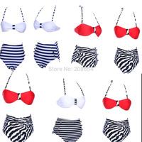 Women Lady Girl Vintage Retro Sexy Pin-Up High Waist Push Up Bandeau Bikinis Set Swimsuit Swimwear Bathing Suit S M L XL