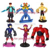 6pcs/set The BiG Hero 6 vinyl doll in opp bag Hiro Hamada Baymax Fred Tomago Wasabi Honey Lemon Action Figure toys for kids