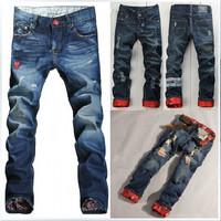 Hot-sale Fashion Brand Long Denim Designer Jeans Cotton Slim Straight Jeans Men Disel Casual Fit Ripped Torn Men Jeans Pants