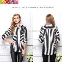 Spring Women Lapel Temperament Was Thin Loose Long-Sleeved Striped Shirt Pocket  Blous Shirt Plus Size Chiffon