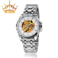 Authentic WEIGUANG Brand Luxury Stainless Steel Watches, Men's Top Waterproof Automatic Hollow Out Mechanical Watches WI-8072