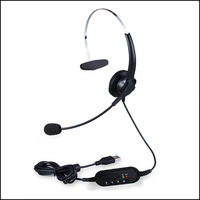 Hot sale With Volume Control Call Center USB Headset Headphone with Microphone Earphones Player for PC calls Free shipping