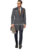 2015 -Free shipping Slim men cashmere casual jacket custom made grey Duffle Coat