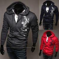 2014 New fashion man casual zipper  jackets mens  pattern print hoodie cardigans  6 colors M- XXL