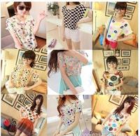 19 Print Pattern New Fashion 2014 Chiffon Women Blouse Colorful Batwing Blusas Femininas Loose Big Size Blouse Shirt Woman 0091