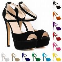 women sandals 2014 thin heel open toe sandals Shoes high heel sandals sandalia feminina  women sandals platform us 4.5-10.5
