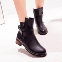 2015 fashion ankle leather boots for women thick with matte leather double zipper boots woman free shipping36