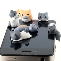 Random 6pcs Cheese Cat 3.5mm Anti Dust Earphone Jack Plug Stopper Cap For phone ZH222