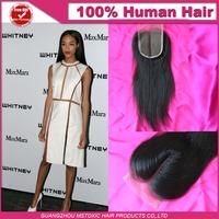 Straight Human peruvian Human Virgin Hair Top Closure Human Hair Lace Closure Middle 3 Part Bleached Knots free shipping