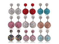 Wholesale Crystal Earrings Women Colorful Double Pearl Earrings for women fashion earings stud