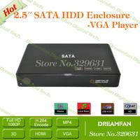 HDD Enclosure 2.5 Inch SATA HDD CASE Serial port hard disk box Support built-in 500GB Hard Disk HDD Enclosure box Free Shipping