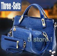 New stylish Korea Fashion ladies crocodile pattern three-set Alligator Crossbody shoulder hand bags Hot sale !