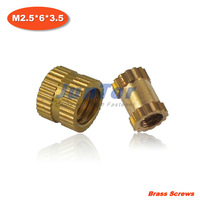 1000pcs/lot M2.5*6*3.5 Injection copper nut Copper inserts Knurled nut Copper flower mother