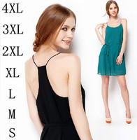 New 2015 Summer women dress,plus size spaghetti strap sexy mini party dress,fashion vestidos girl chiffon dress XXL/3XL/4XL