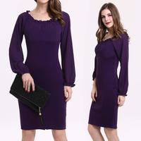 2014 Womens Autumn Dress Leisure Elastic Collar Sleeved Mini Evening Party Dresses Purple