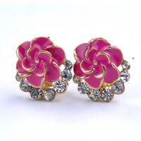 The new design Camellia flower earrings Rhinestone earrings ear buckle new women's fashion jewelry Y50*MHM577#S7