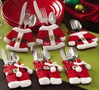 Free Shipping 6pcs/Set Handmade Christmas Santa Claus Suit Silverware Knives and Forks Pockets Gift Mini Clothes Pants Shaped
