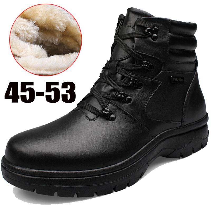 Odema 45-53 nuovo marca inverno uomini di avvio della neve di pelliccia calda di cotone nero corto stivali in vera pelle pizzo maschio oxford scarpe casual