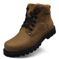 New arrival Size38-48 Black+Khaki warm men's winter boots fashion leather boots snowshoes flat shoes