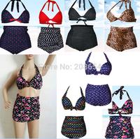 2015 New Women Ladies Sexy Retro Push-up Pin Up Padded High Waisted Bikini Swimsuit Beachwear Swimwear Bathing Suit Swim Suit