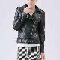 2015 New Fashion Spring Autumn Women Leather Jacket Ladies Pu Zippers Belt Coat Motorcycle Outerwear HOT SALE