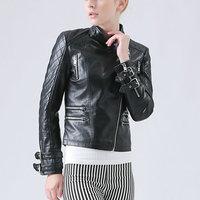 2015 Hot New Fashion Autumn Winter Women Motorcycle Faux Soft Leather Jackets Lady Black Long Sleeve Coat