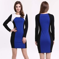 New Fashion 2014 Womens Autumn Dress Long-sleeved Splicing Party Dreeese Business Pencil Mini Bodycon Dresses  Blue
