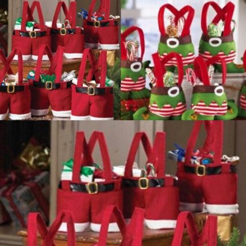 Free shipping Christmas Santa Pants Elf Spirit Candy Bags Xmas Decoration Sack Cute Child Gift b066(China (Mainland))