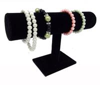 Portable Organizer Black Velvet Bracelet Bangle Necklace Chain Watch T-Bar Rack Jewelry Display Stand Holder Rack Free Shipping